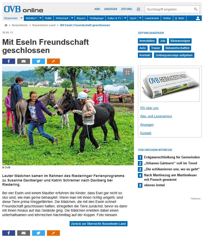 Artikel über das Riederinger Ferienprogramm bei den Daxlbergers